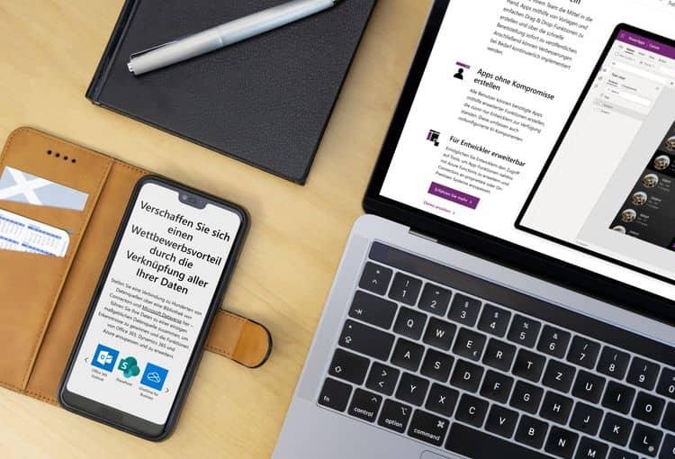 Laptop und Smartphone mit Power Apps