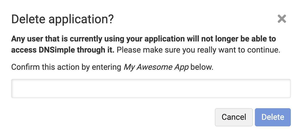 Delete Application confirmation