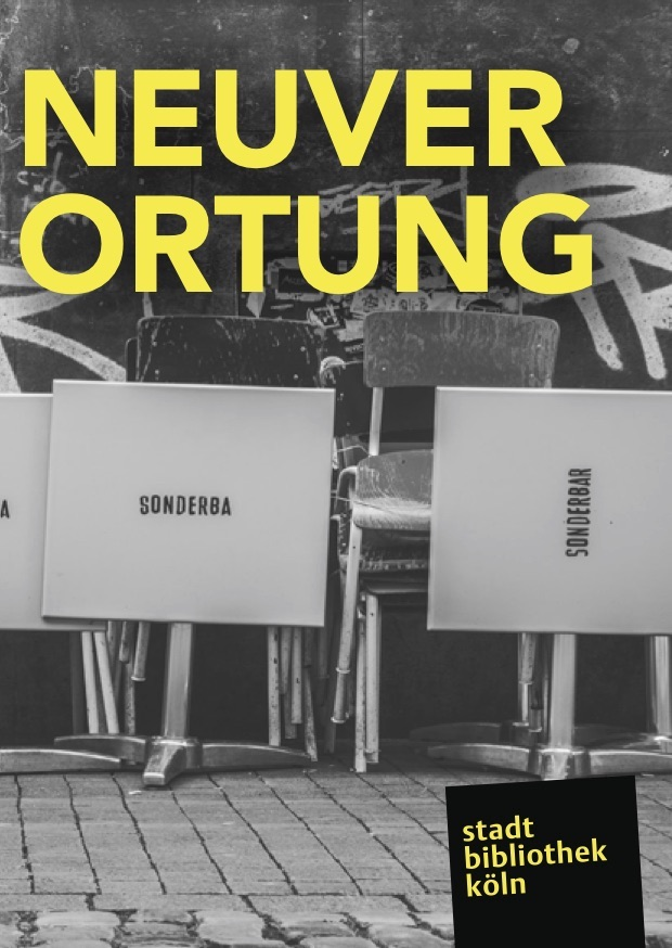Flyer of the Neuverortung series of events showing worn down chairs and folding tables in front of a wall covered with graffiti