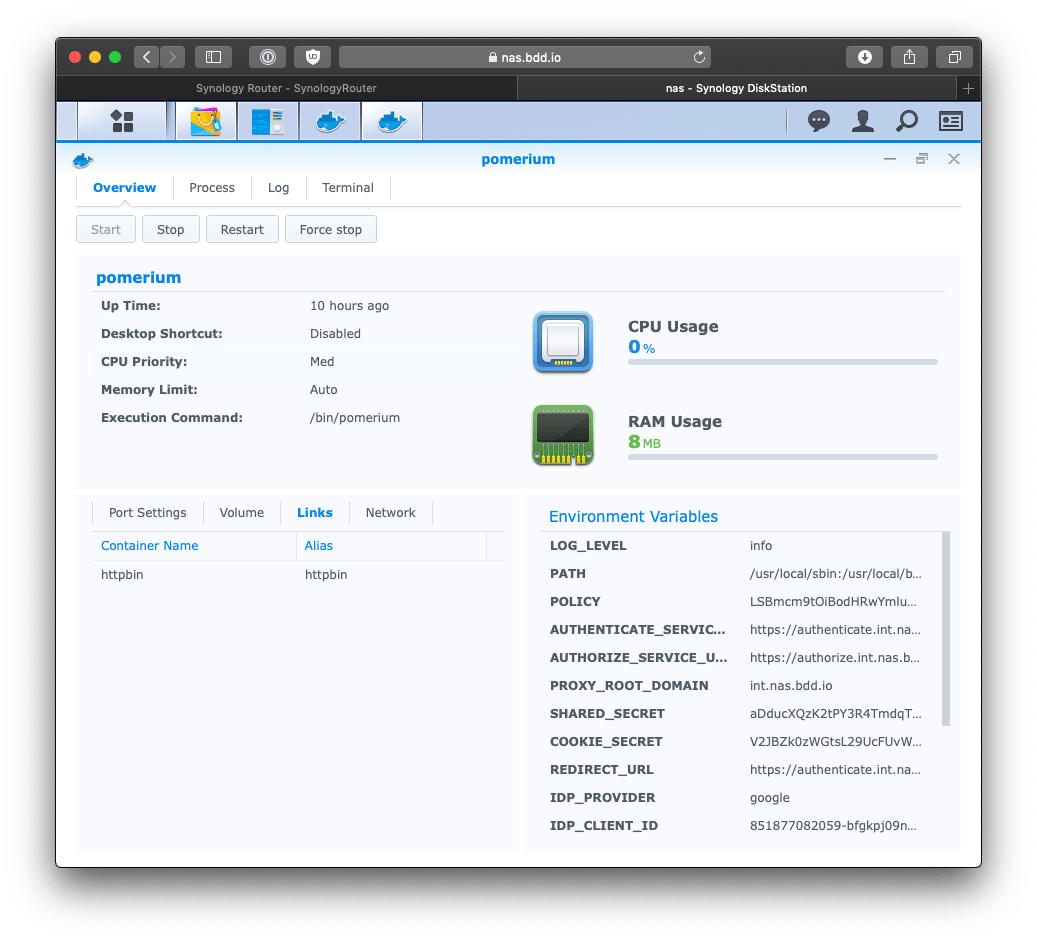 Synology pomerium all setup