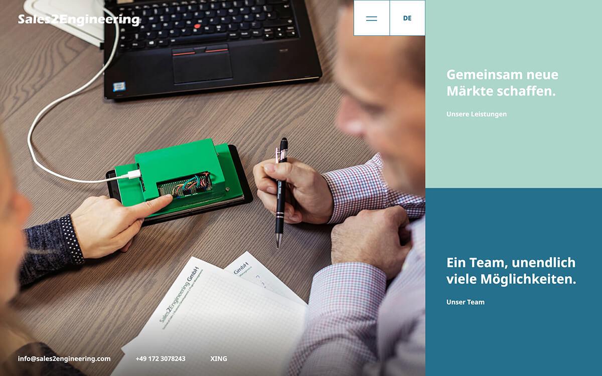 Website von Sales2Engineering: Startseite