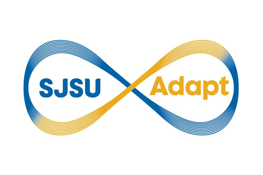 Blue and gold infinity symbol looping around the words SJSU Adapt.