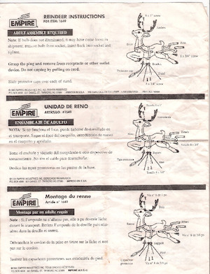 Empire Reindeer #1649 Instruction Manual (1998).pdf preview