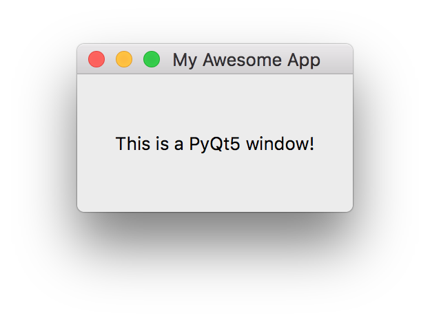 Window with label, using PyQt5.