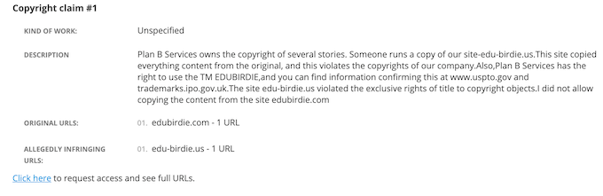 official edubirdie.com copyright claim against edu-birdie.us