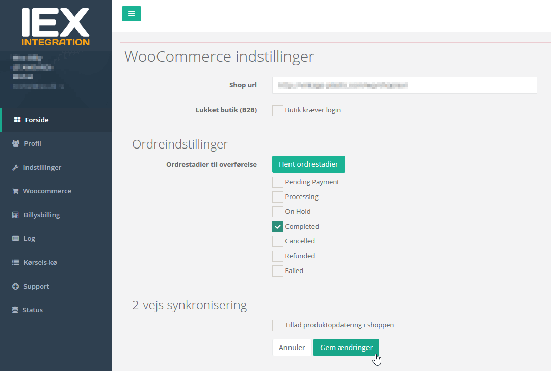 Integration med Woocommerce