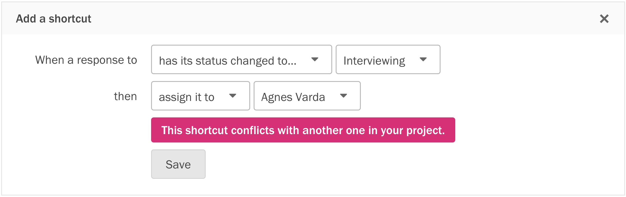 An example of error validation that warns you when creating a paradox.