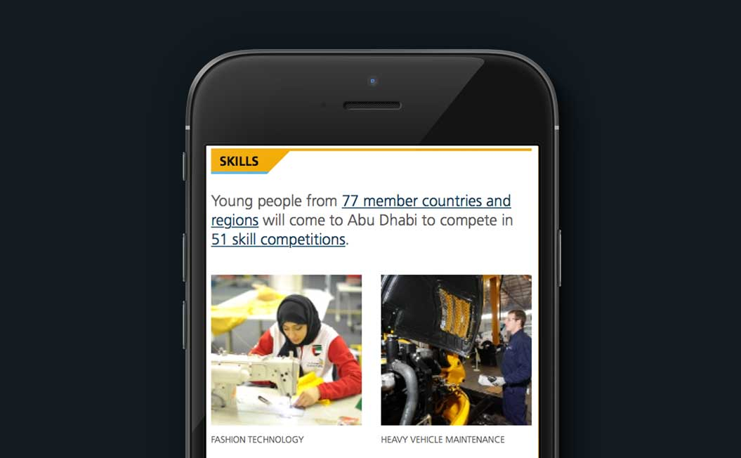 Image showing the WorldSkills Abu Dhabi 2017 website on an iPhone