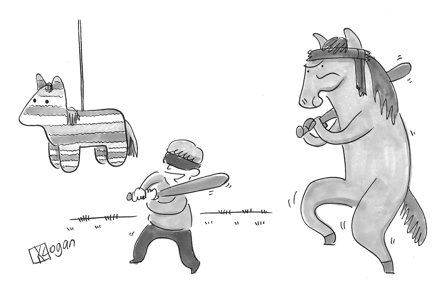 (A horse is sneaking up on a kid swinging at a pinata.)