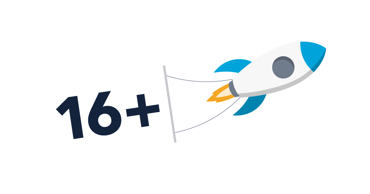 Illustration of a rocket with a banner saying 16+