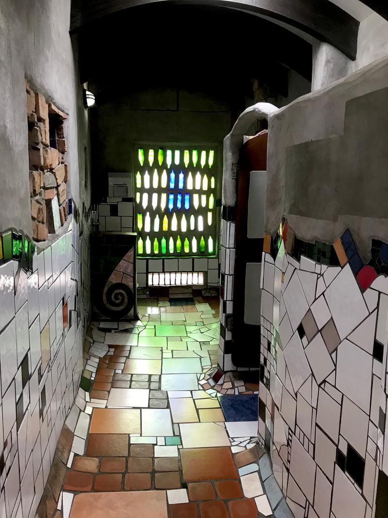 Interior of the Hundertwasser toilets in Kawakawa
