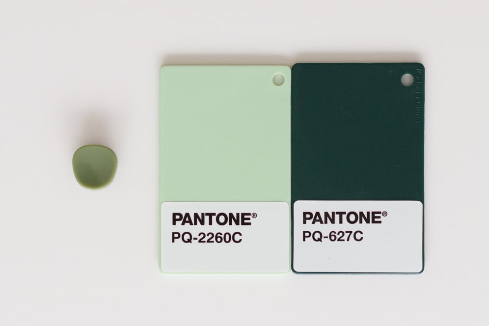 Pantone 627c swatch, Pantone 2260c swatch, and Smith-Corona modifier keycap