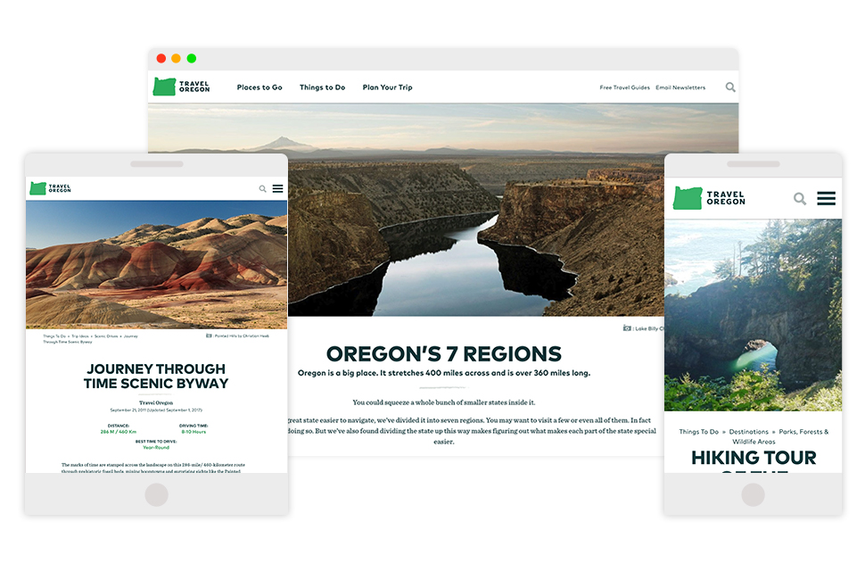 Image: Oregon landscapes at different screen sizes