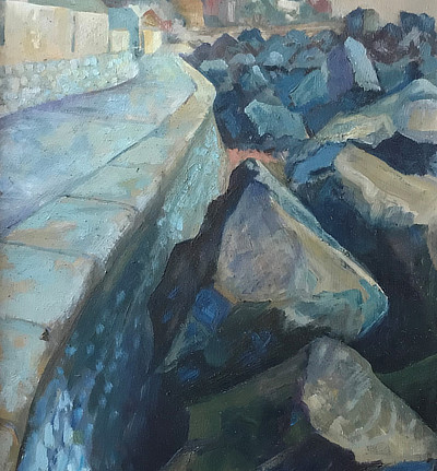 painting of rocks on Sandgate beach up against the sea wall promenade