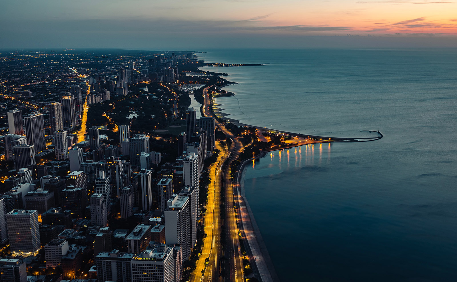 overhead view of chicago at night