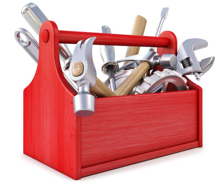 illustrated toolbox with a variety of tools hanging out