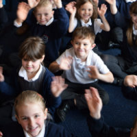 Schoolchildren at the Suffolk Libraries Children's Month launch at Bungay Library