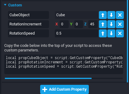 Custom Properties on Cube
