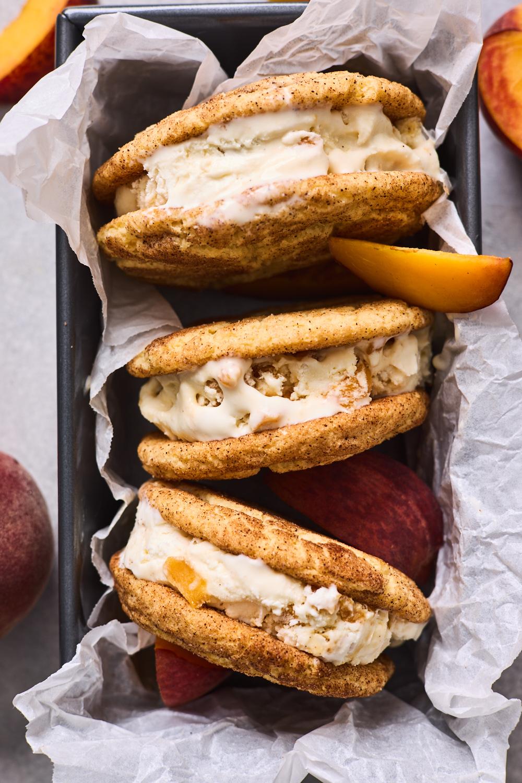 Snickerdoodle and Peach Ice Cream Sandwiches