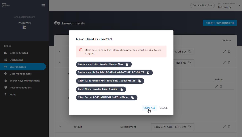 copy the client credentials