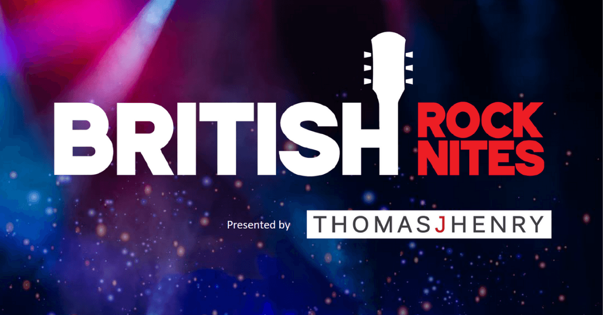The British Rock Nites logo on a concert lighting background with the words presenting sponsor Thomas J Henry