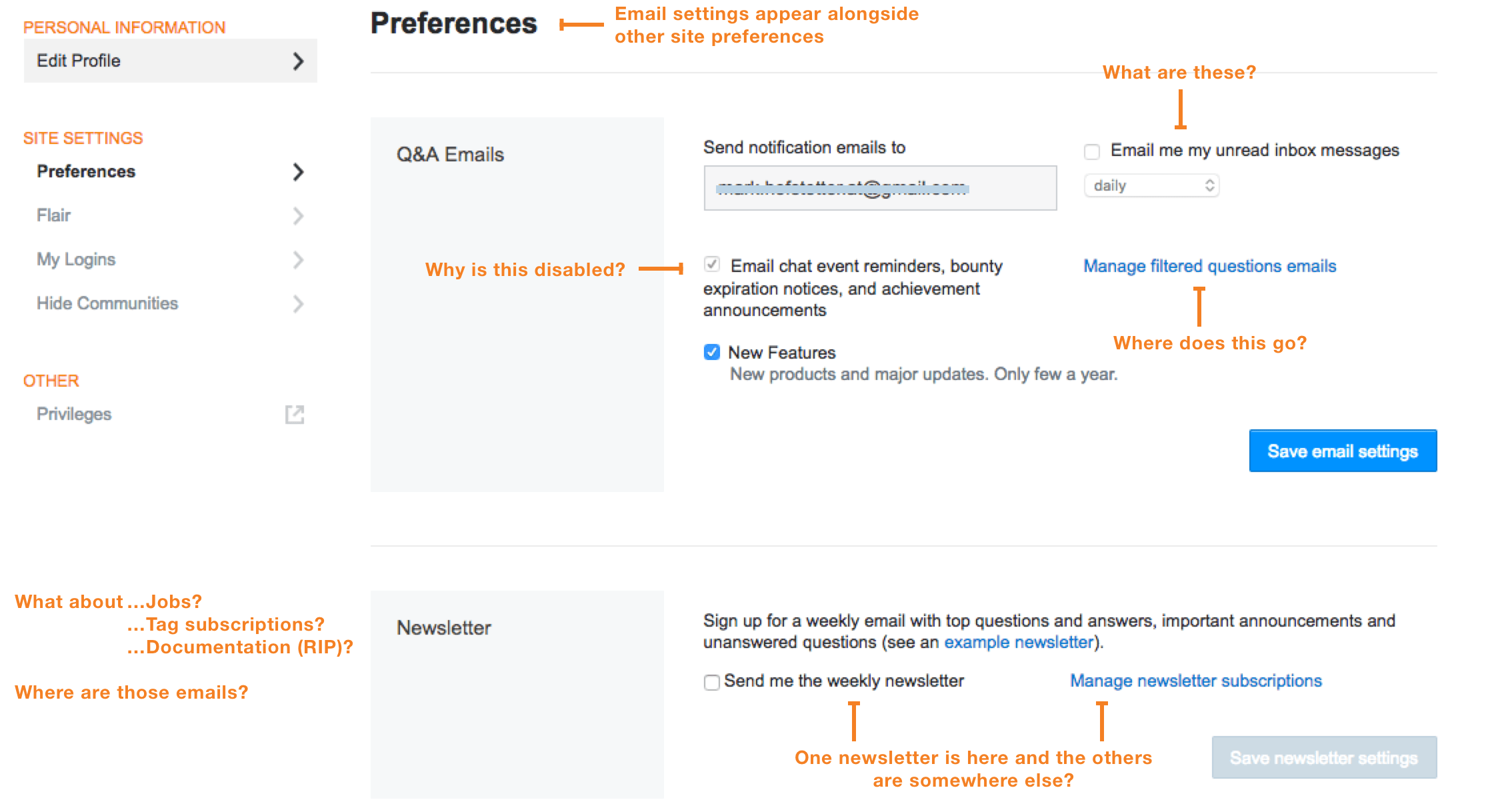 Stack Overflow's previous email preferences.