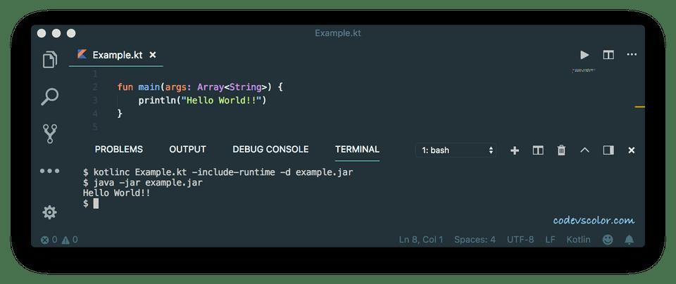 Kotlin run a program using command line