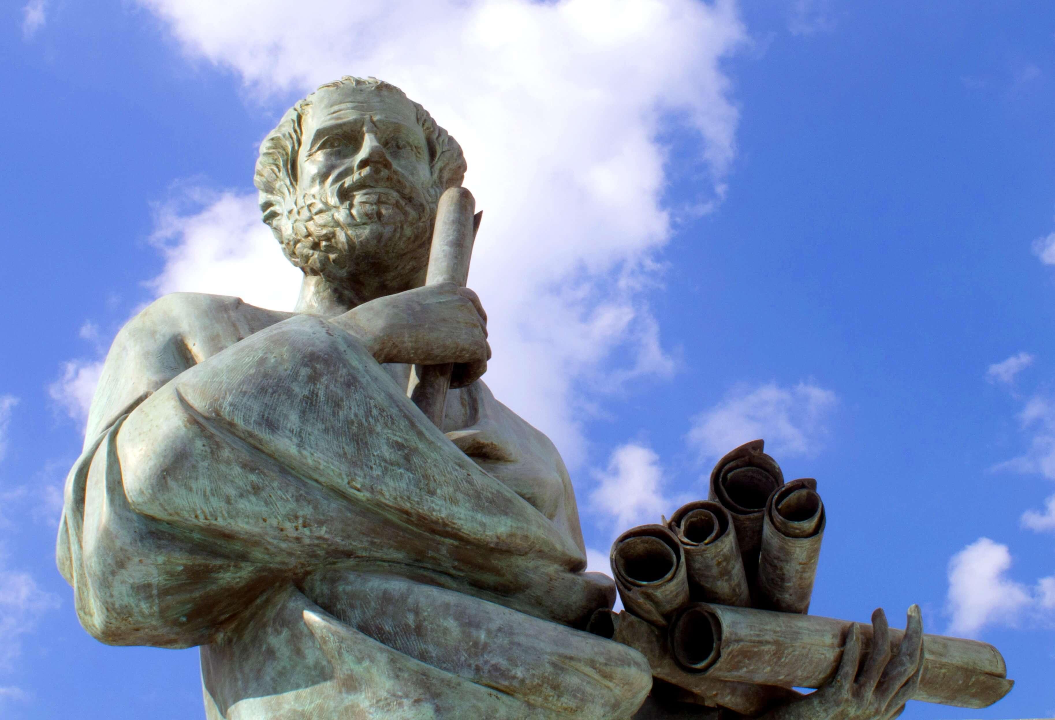 A sculpture of Socrates.