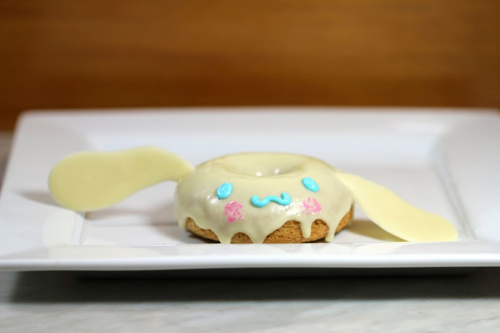 Vegan Sanrio Cinnamoroll donut with white chocolate coating