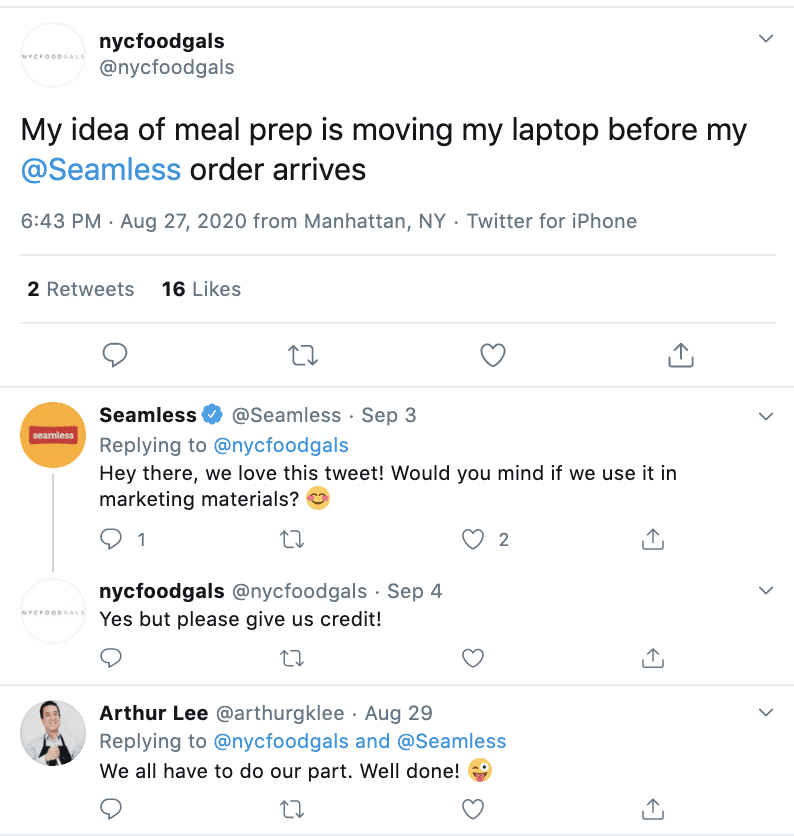 Positive tweet mentioning food delivery app Seamless.