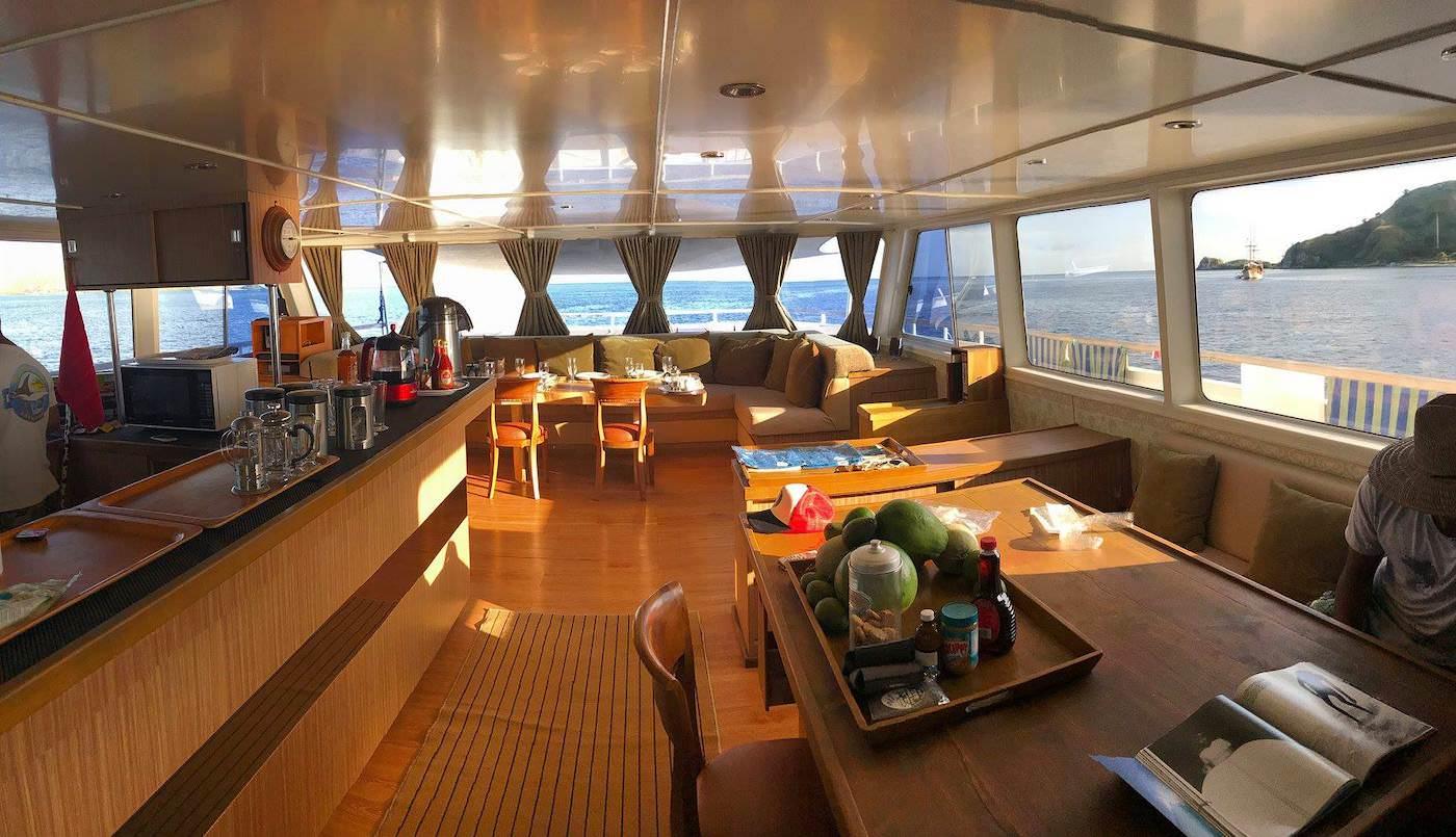 Sibon Jaya luxury surf catamaran charter boat Mentawai and beyond living areas