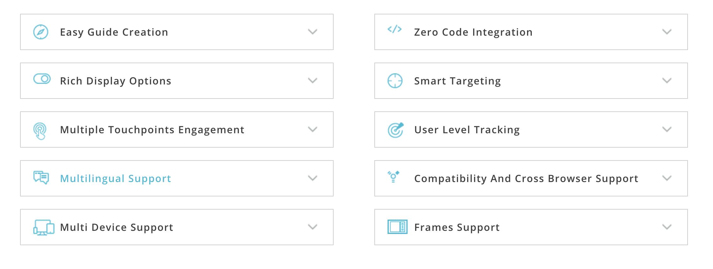Whatfix feature table