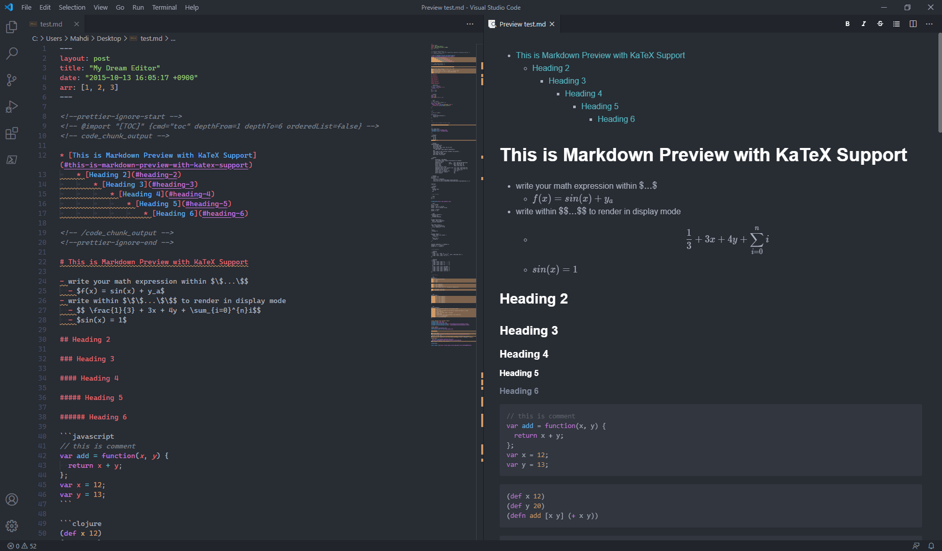 Visual Studio Code, with Markdown Preview Enhanced, Markdownlint, and One Dark Pro