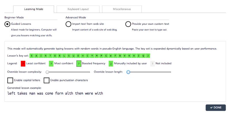 Your initial settings onKeybr