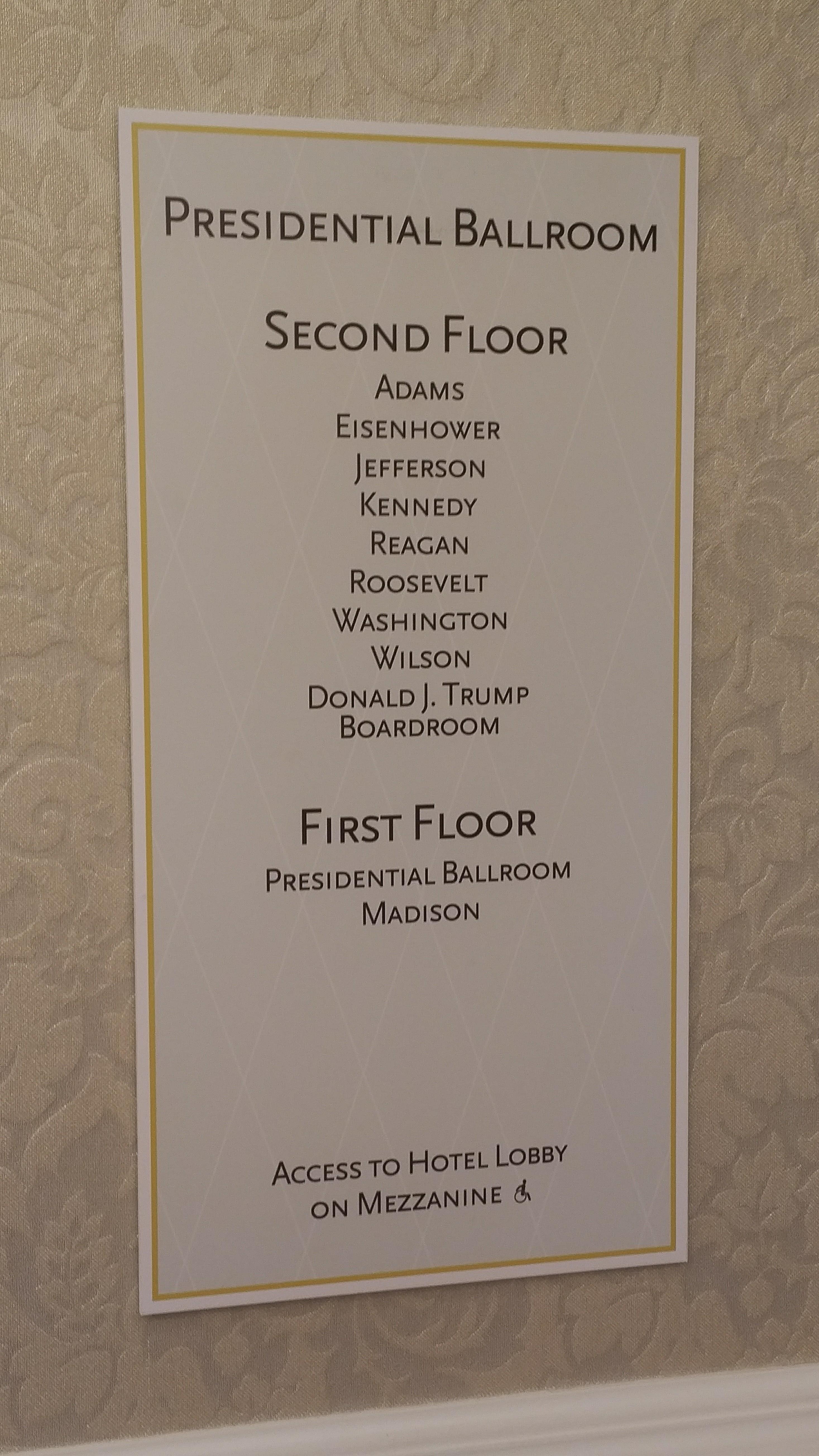Directory for Trump International Hotel ballrooms