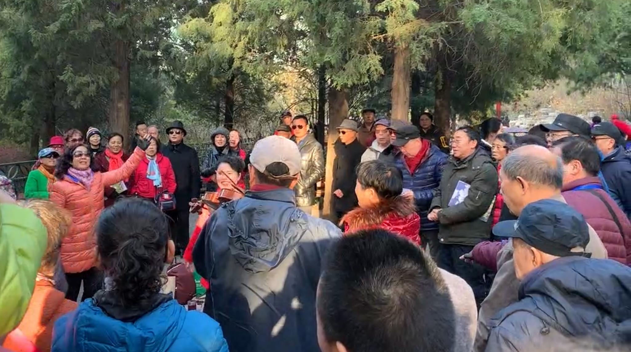 Mensen zingen in het park