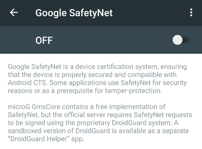 MicroG settings screen for SafetyNet