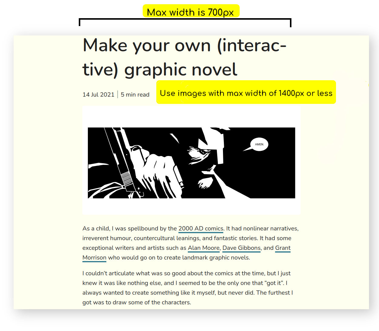 show example of blog post with width on desktop and highlight max width of image