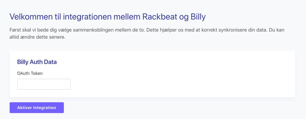 Indtast din API-nøgle i Billy