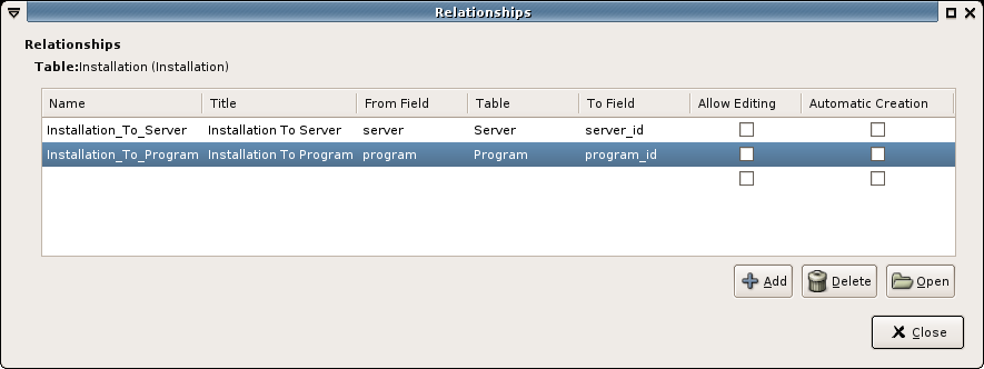 Glom screenshot: defining relationships