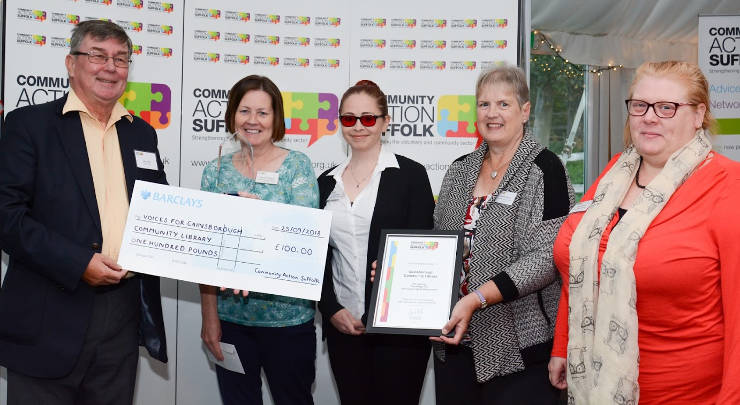 Gainsborough Library staff with a cheque presented by CAS staff