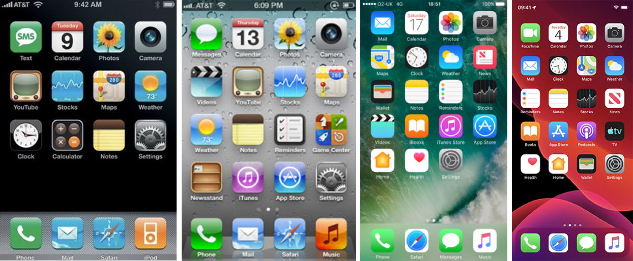 Screenshots of apple phones from 2007 to 2019