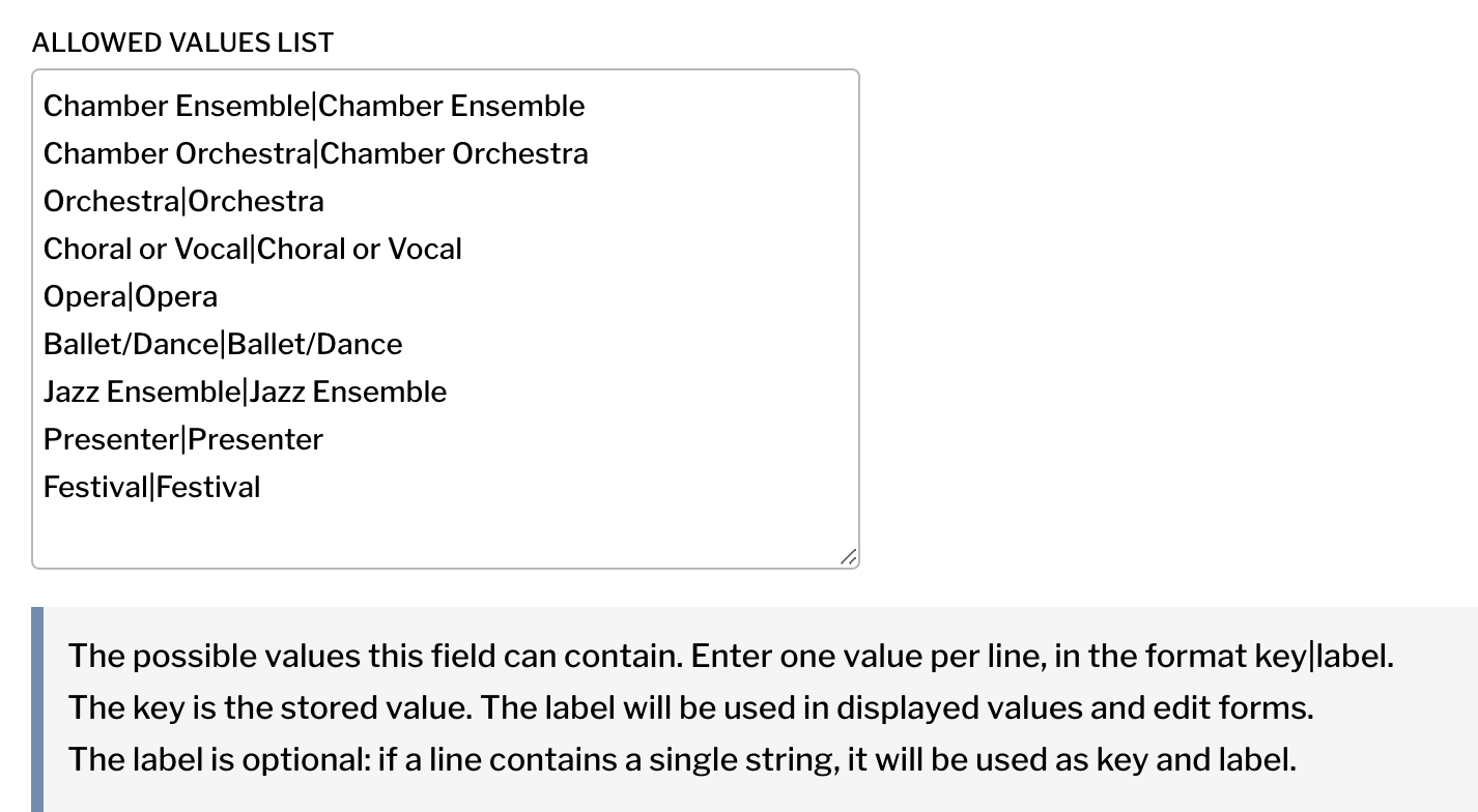 Setting allowed values for a checkboxes or select field