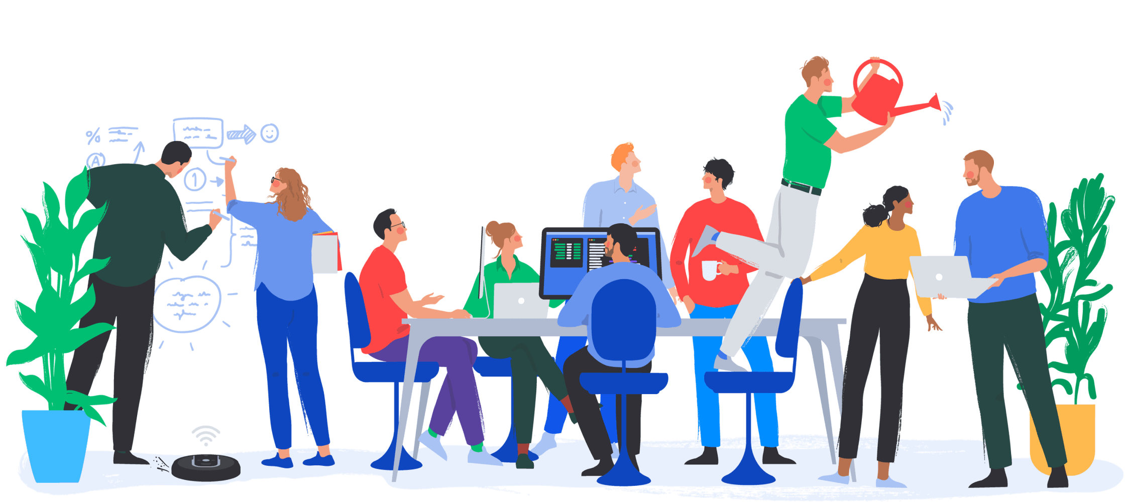 Illustration of the Opteo office and it's team members.