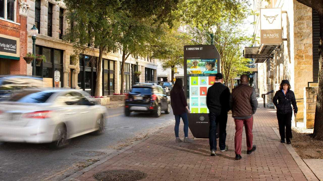 An IKE smart kiosk in the sidewalk in San Antonio, Texas