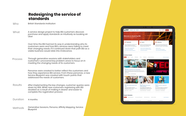 British Standards Institute Service Design work