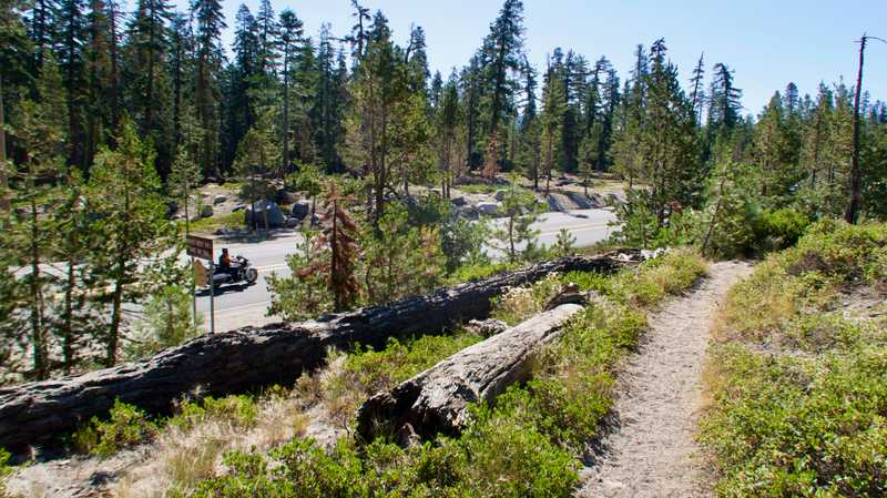 The PCT and U.S. Highway 50 near Echo Summit