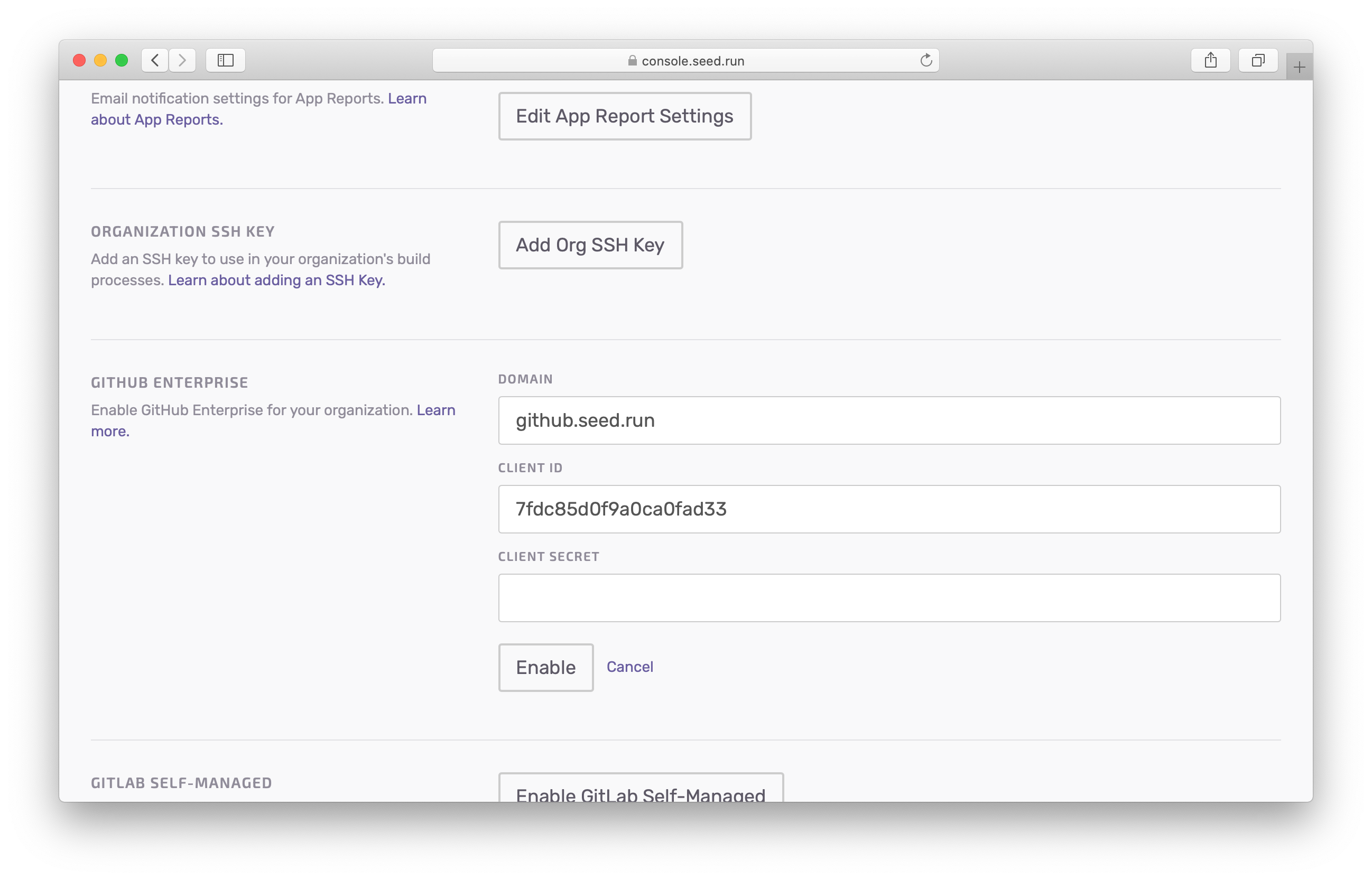 Enabled GitHub Enterprise on Seed