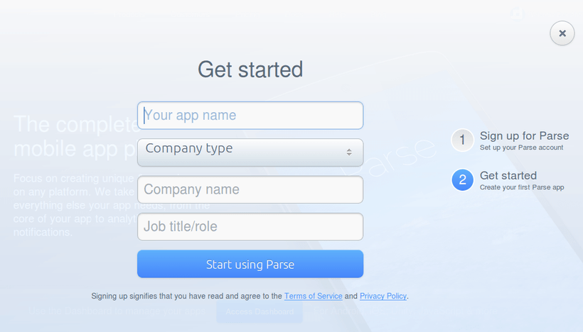 Getting Started Parse