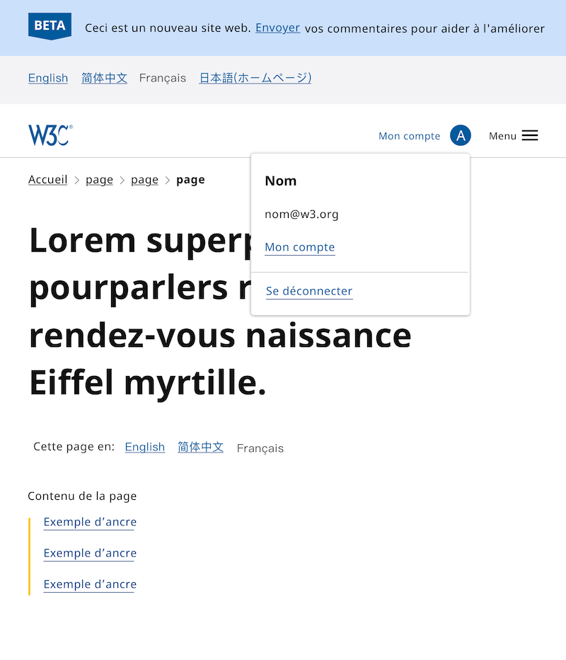 Header design showing account menu (medium screen) in French